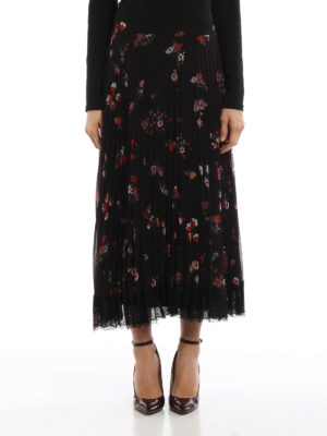 Valentino Red: Long skirts online - Floral crepe pleated skirt