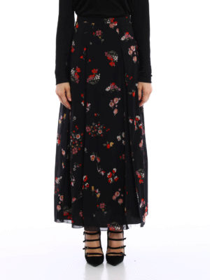 Valentino Red: Long skirts online - Floral silk and tulle pleated skirt