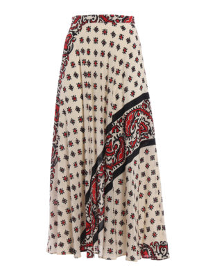 Valentino Red: Long skirts - Patterned silk light skirt