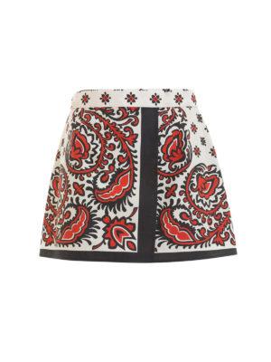 VALENTINO RED: minigonne - Minigonna Paisley con fiocco