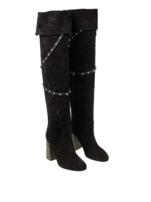 VALENTINO RED: stivali online - Stivali in camoscio con borchie sul tacco