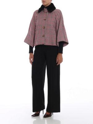 VALENTINO RED: giacche casual online - Mantellina pied-de-poule con collo in visone