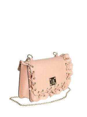 VALENTINO RED: borse a spalla online - Borsa a spalla Rock Ruffles in pelle rosa
