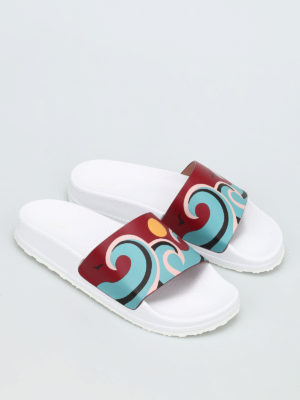 Valentino Red: sandals online - Printed leather beach sliders