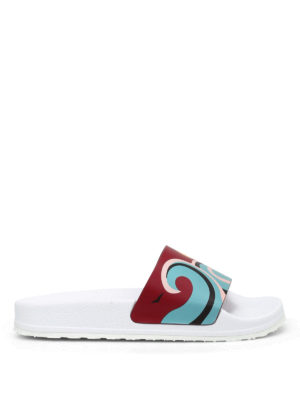 Valentino Red: sandals - Printed leather beach sliders