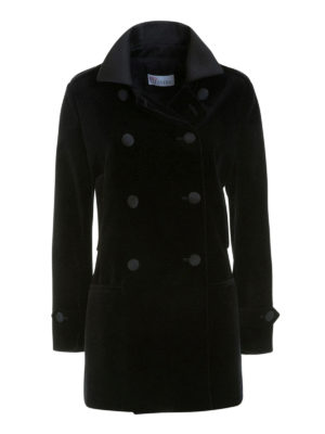Valentino Red: short coats - Velvet double-breasted peacoat