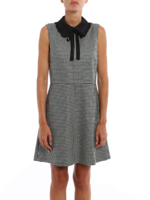 Valentino Red: short dresses online - Houndstooth wool flared dress