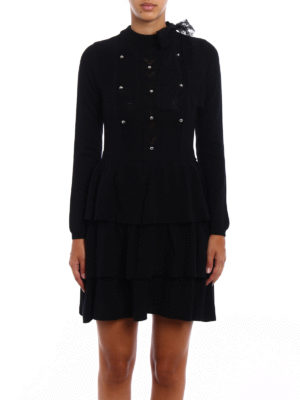 Valentino Red: short dresses online - Knitted wool flounced dress