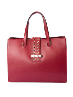 Valentino Red: totes bags - Eyelets detailed leather bag