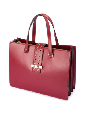 Valentino Red: totes bags online - Eyelets detailed leather bag