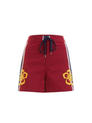 Valentino Red: Trousers Shorts - Embroidered flowers cotton shorts