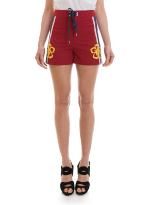 Valentino Red: Trousers Shorts online - Embroidered flowers cotton shorts