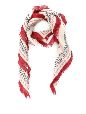 Valentino: scarves - Loveblade print silk twill foulard