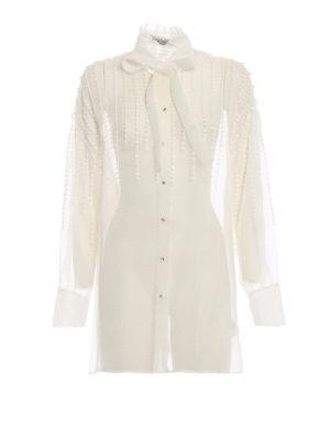 VALENTINO: camicie - Camicia gioiello in organza di seta avorio