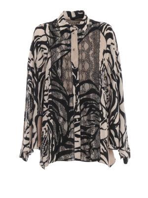 VALENTINO: camicie - Camicia over in seta stampa tigri con pizzo