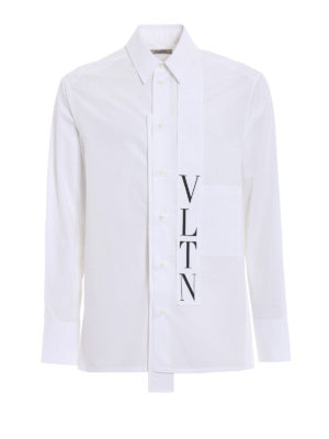 Valentino: shirts - Logo self tie formal cotton shirt