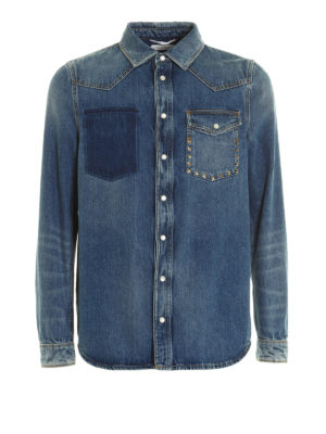 Valentino: shirts - N.18 Rockstud Untitled denim shirt