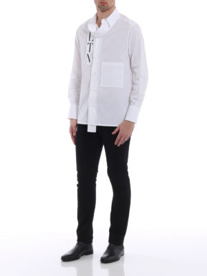 Valentino: shirts online - Logo self tie formal cotton shirt