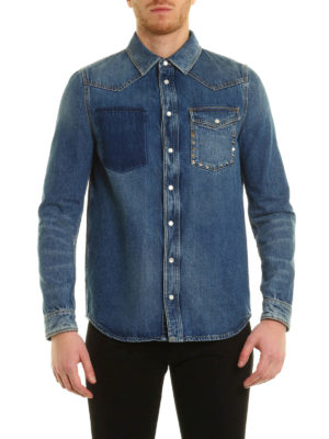 Valentino: shirts online - N.18 Rockstud Untitled denim shirt