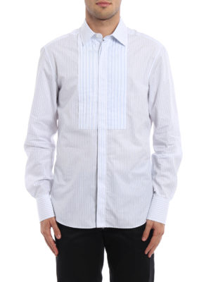 Valentino: shirts online - Pleated front striped cotton shirt