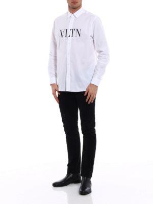 Valentino: shirts online - VLTN print cotton poplin shirt