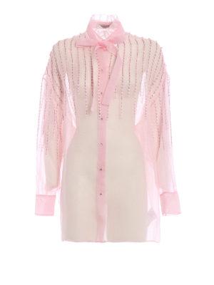 VALENTINO: camicie - Camicia gioiello in organza di seta rosa