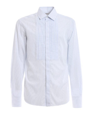 Valentino: shirts - Pleated front striped cotton shirt