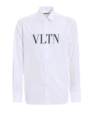 Valentino: shirts - VLTN print cotton poplin shirt