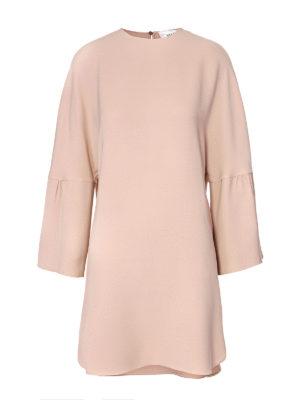 Valentino: short dresses - Bell sleeve silk crepe tunic dress