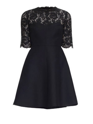 Valentino: short dresses - Crepe and Heavy Lace flared dress