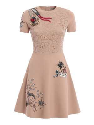 Valentino: short dresses - Lace detailed embroidered dress