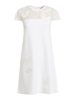 Valentino: short dresses - Lace panelled embroidered dress