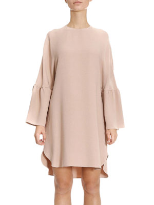 Valentino: short dresses online - Bell sleeve silk crepe tunic dress