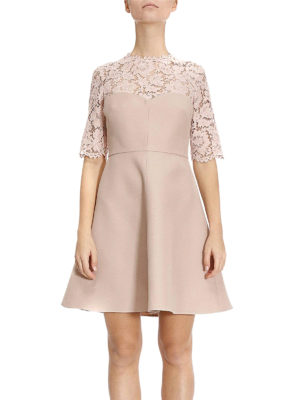 Valentino: short dresses online - Crepe and Heavy Lace flared dress