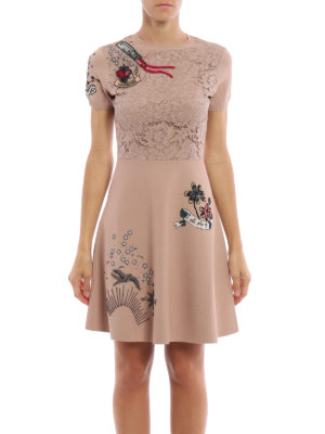 Valentino: short dresses online - Lace detailed embroidered dress