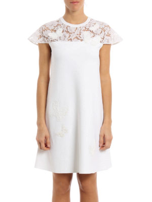 Valentino: short dresses online - Lace panelled embroidered dress