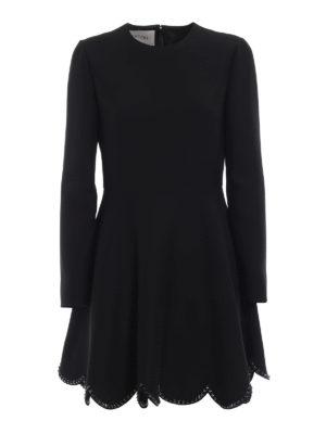 VALENTINO: abiti corti - Abito in lana con fondo smerlato e borchie