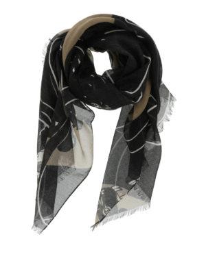 Valentino: Stoles & Shawls - Camu print fringed stole