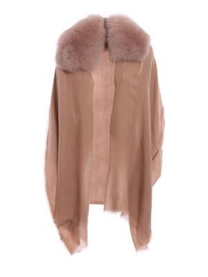 Valentino: Stoles & Shawls - Fur embellished cashmere stole
