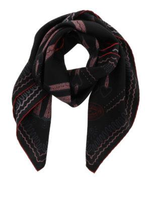 Valentino: Stoles & Shawls - Love Blade print silk shawls