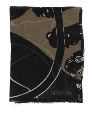 Valentino: Stoles & Shawls online - Camu print fringed stole