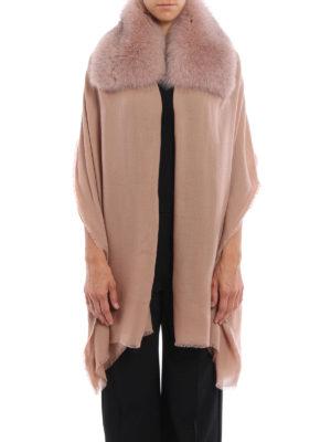 Valentino: Stoles & Shawls online - Fur embellished cashmere stole