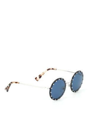 Valentino: sunglasses - Crystal rim round sunglasses