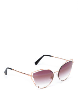 Valentino: sunglasses - Gold metallic framed sunglasses