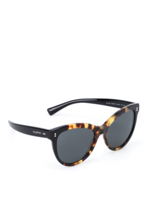 Valentino: sunglasses - Havana black two-tone sunglasses