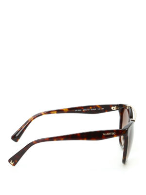 Valentino: sunglasses online - Double bridge tortoise sunglasses