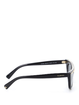 Valentino: sunglasses online - Stud embellished black sunglasses