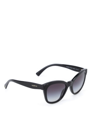 Valentino: sunglasses - Polished black sunglasses