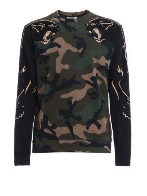 Valentino: Sweatshirts & Sweaters - Camu panther cotton sweatshirt