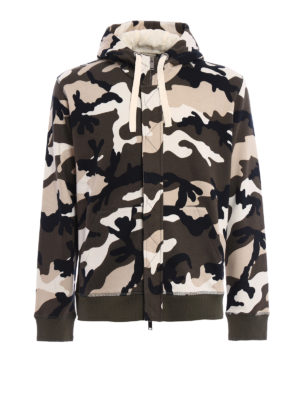 Valentino: Sweatshirts & Sweaters - Camu Unfinished print hoodie